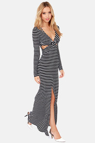 Ooh La Lady Black and White Striped Maxi Dress at Lulus.com!