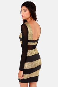 Bee Jive Gold and Black Striped Dress at Lulus.com!