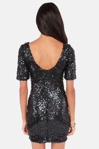 Global DJ Black Sequin Dress at Lulus.com!