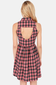 Plaid A Lovely Time Black and Red Plaid Dress at Lulus.com!