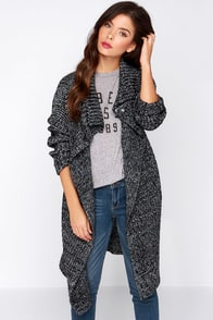 Lift Ticket Black and Ivory Knit Cardigan Sweater at Lulus.com!