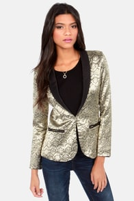 Ornamental Note Black and Gold Tuxedo Jacket