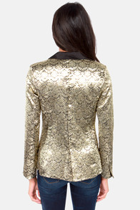 Ornamental Note Black and Gold Tuxedo Jacket at Lulus.com!
