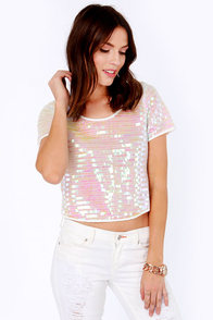 Like Magic Iridescent White Sequin Crop Top