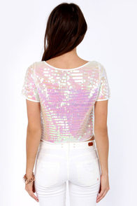 Like Magic Iridescent White Sequin Crop Top at Lulus.com!