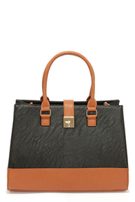 LULUS Exclusive Around the Color Block Black and Tan Tote at Lulus.com!