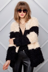 Fuzz Up with That Black and Cream Faux Fur Coat