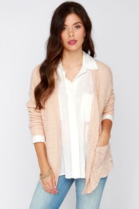 Olive & Oak Warmest Wishes Peach Knit Cardigan Sweater at Lulus.com!
