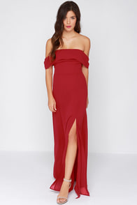 Secret Bluff Off-the-Shoulder Wine Red Maxi Dress at Lulus.com!