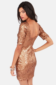 Global DJ Bronze Sequin Dress at Lulus.com!