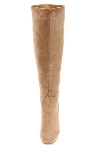 Dollhouse Embrace Taupe Suede Knee High Heel Boots at Lulus.com!