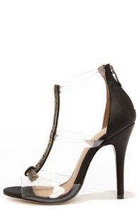Chinese Laundry Jive Talk Black and Lucite Jeweled High Heels at Lulus.com!