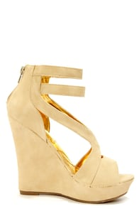 Mona Mia Merce Nude Strappy Platform Wedges at Lulus.com!