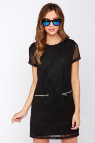 Mesh-terpiece Theatre Black Mesh Shift Dress at Lulus.com!