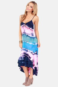 Billabong Hometown Fair Pink and Blue Tie-Dye Maxi Dress at Lulus.com!