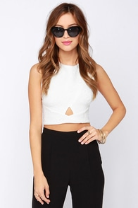 The Cush Life Quilted Ivory Crop Top at Lulus.com!