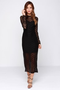 Morticia Black Long Sleeve Lace Midi Dress at Lulus.com!