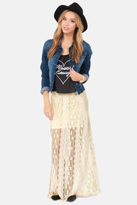 Billabong She's a Doll Cream Lace Maxi Skirt at Lulus.com!