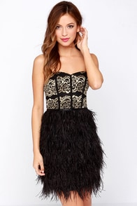 Wispy Business Gold and Black Strapless Feather Dress at Lulus.com!