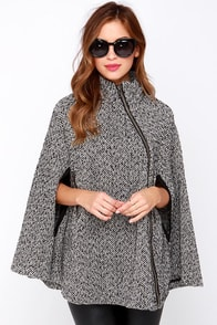 For Sure-lock Black and Ivory Cape at Lulus.com!