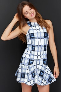 Finders Keepers Take Me Out Blue and Ivory Print Dress at Lulus.com!