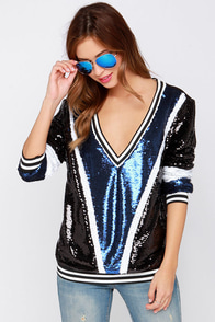 Show Some Spirit Blue Sequin Sweater at Lulus.com!