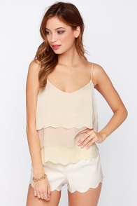 Scallop De Loo Cream Crop Top at Lulus.com!