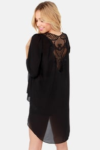 Darling Darla Black Lace Kimono Jacket at Lulus.com!