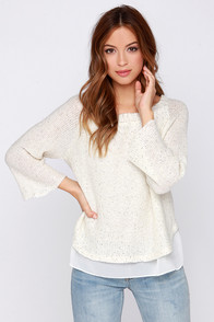 THML Fargo Cream Sequin Sweater at Lulus.com!