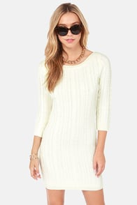 Darling Hazel Cream Knit Sweater Dress