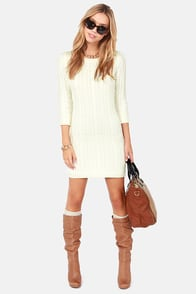Darling Hazel Cream Knit Sweater Dress at Lulus.com!