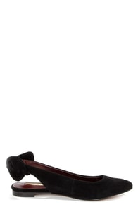 Report Signature Shani Black Suede Bow-Back Flats at Lulus.com!