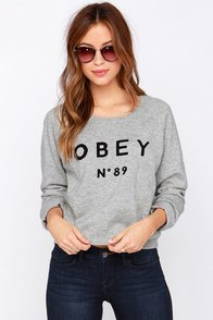 Obey No. 89 Heather Grey Sweatshirt at Lulus.com!