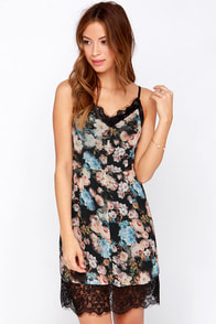 What Dreams May Come Black Floral Print Slip Dress at Lulus.com!