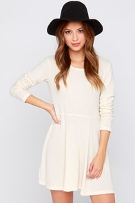 Obey Hartley Cream Long Sleeve Sweater Dress at Lulus.com!