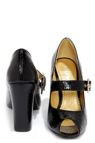 Chelsea Crew Helena Black Patent Peep Toe Mary Jane Heels at Lulus.com!
