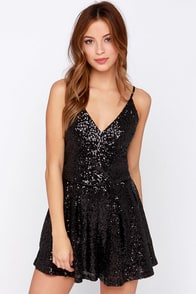 Short and Sweet Black Sequin Romper at Lulus.com!