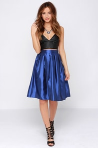 Boxed In Royal Blue Pleated Skirt at Lulus.com!