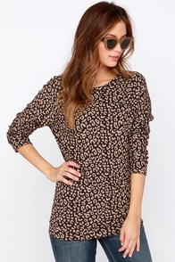Obey Echo Mountain Brown Leopard Print Sweater Top at Lulus.com!