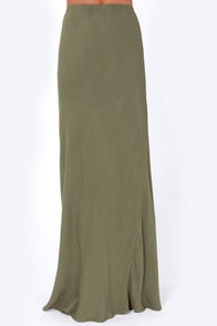 Lucy Love Olive Green Maxi Skirt at Lulus.com!