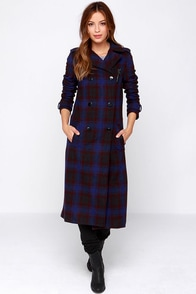 Lucca Couture Solera Blue Plaid Coat at Lulus.com!