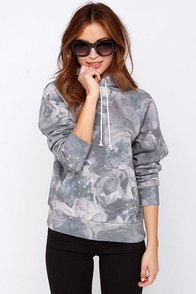 Obey Monty Pullover Grey Print Hooded Sweatshirt at Lulus.com!
