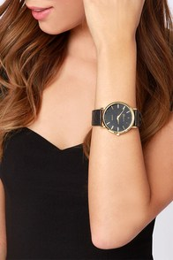 Once Upon a Time Black Vegan Leather Watch at Lulus.com!
