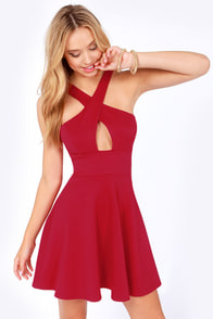 Cross Over Backless Red Dress at Lulus.com!