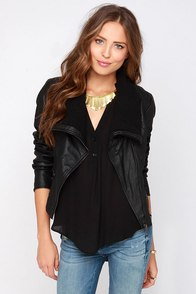 Moto the Story Black Vegan Leather Jacket at Lulus.com!