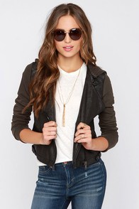 Practical Attitude Brown and Black Jacket at Lulus.com!