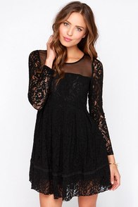 Gurdon Black Long Sleeve Lace Dress at Lulus.com!