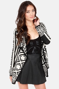 Aztec It Out Black and Cream Print Wrap Sweater at Lulus.com!