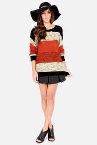 Paint It Color Block Black and Rust Red Sweater at Lulus.com!