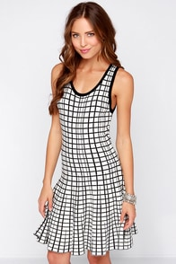 Longitude and Latitude Ivory and Black Print Dress at Lulus.com!